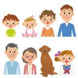 insieme della famiglia della Tre-generazione illustrazione vettoriale