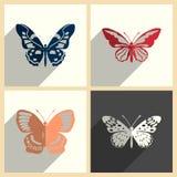 Insieme della farfalla delle icone piane con ombra Illustrazione di vettore Illustrazione di Stock