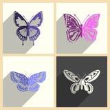 Insieme della farfalla delle icone piane con ombra Illustrazione di vettore Illustrazione Vettoriale