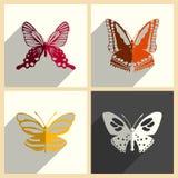 Insieme della farfalla delle icone piane con ombra Illustrazione di vettore Royalty Illustrazione gratis
