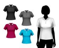 Insieme della femmina delle magliette illustrazione di stock