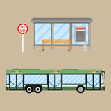 Insieme della fermata dell'autobus Immagine Stock Libera da Diritti