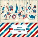 Insieme della festa dell'indipendenza di colore Immagine Stock