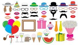 Insieme della festa di compleanno Vettore Cappello, cappuccio, vetri, labbra, baffi, legame, palloni, mazzo ed ecc , icone Fotografie Stock Libere da Diritti