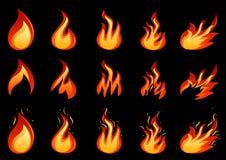 Insieme della fiamma del fuoco Immagini Stock Libere da Diritti