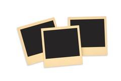 Insieme della foto istantanea in bianco con spazio nero isolato su bianco aspetti all'annuncio la vostra foto Fotografia Stock Libera da Diritti