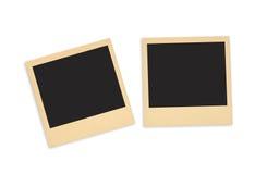Insieme della foto istantanea in bianco con spazio nero isolato su bianco aspetti all'annuncio la vostra foto Fotografia Stock