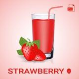 Insieme della fragola Juice And Fresh Ripe Berries Fotografia Stock