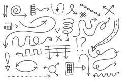 Insieme della freccia di scarabocchio di vettore Simboli isolati, elementi di progettazione Immagini Stock
