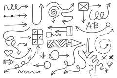 Insieme della freccia di scarabocchio di vettore Simboli isolati, elementi di progettazione Fotografie Stock