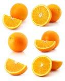 Insieme della frutta arancione fresca isolata su bianco Immagini Stock