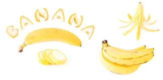 Insieme della frutta della banana isolato Fotografie Stock
