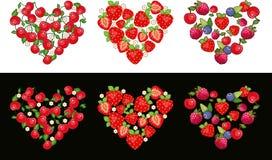 Insieme della frutta del cuore Fotografia Stock