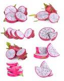 Insieme della frutta del drago della fetta isolata su bianco Immagini Stock