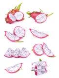 Insieme della frutta del drago isolato su bianco Immagini Stock Libere da Diritti