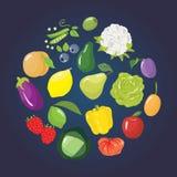 Insieme della frutta, delle verdure e delle bacche differenti Immagini Stock