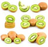 Insieme della frutta di kiwi fresca isolata Fotografia Stock Libera da Diritti