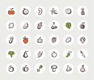 Insieme della frutta di progettazione e delle icone piane delle verdure Fotografia Stock Libera da Diritti