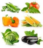 Insieme della frutta di verdure isolata su bianco Fotografia Stock Libera da Diritti