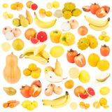 Insieme della frutta differente e delle verdure gialle ed arancio, isolato Fotografia Stock Libera da Diritti