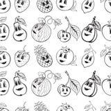 Insieme della frutta divertente del fumetto in bianco e nero royalty illustrazione gratis