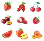 Insieme della frutta e delle bacche rosse Immagine Stock