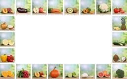 Insieme della frutta e delle verdure con lo spazio della copia Immagine Stock