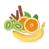 Insieme della frutta fresca Fotografie Stock