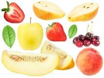 Insieme della frutta fresca e dei berryes Fotografia Stock