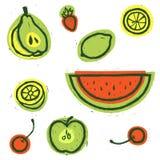 Insieme della frutta Illustrazione dell'alimento Frutta di vettore Illustrazione di vettore royalty illustrazione gratis