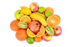 Insieme della frutta isolata su fondo bianco Immagine Stock
