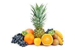 Insieme della frutta isolata su fondo bianco Fotografia Stock
