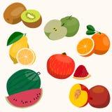 Insieme della frutta Stile piano Immagini Stock Libere da Diritti