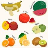 Insieme della frutta Stile piano Fotografie Stock Libere da Diritti