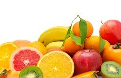 Insieme della frutta su priorità bassa bianca Fotografia Stock