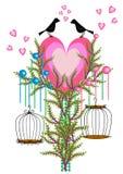 Insieme della gabbia per uccelli Fotografie Stock