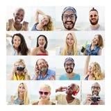 Insieme della gente del concetto del viso umano di diversità dei fronti immagine stock