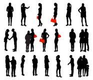 Insieme della gente della siluetta. Illustrazione di vettore. Fotografia Stock