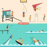 Insieme della gente di vacanze estive royalty illustrazione gratis