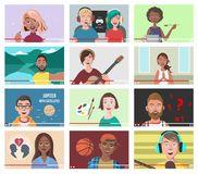 Insieme della gente differente sui video di Internet Immagine Stock