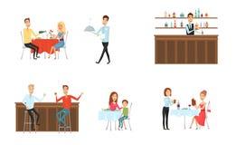 Insieme della gente in ristorante ed alla barra Stile del fumetto e del piano fondo differente Illustrazione di vettore illustrazione vettoriale