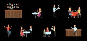 Insieme della gente in ristorante ed alla barra Stile del fumetto e del piano fondo differente Illustrazione di vettore royalty illustrazione gratis