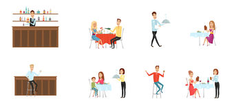 Insieme della gente in ristorante ed alla barra Stile del fumetto e del piano fondo differente Illustrazione di vettore Immagini Stock