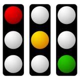 Insieme della lampada di traffico, semaforo, icone del semaforo Fotografia Stock Libera da Diritti