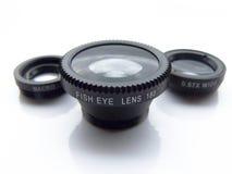 Insieme della lente della clip Fotografie Stock