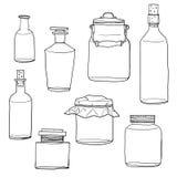 Insieme della linea arte d'annata vuota disegnata a mano delle bottiglie e dei barattoli sveglia royalty illustrazione gratis