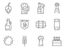 Insieme della linea icone della birra di vettore royalty illustrazione gratis