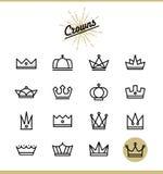 Insieme della linea icone della corona Fotografie Stock
