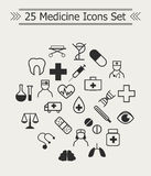 Insieme della linea icone della medicina nel cerchio royalty illustrazione gratis