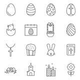 Insieme della linea icone di Pasqua di vettore illustrazione di stock